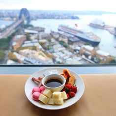 Perfect weather conditions to just sit in, watch a movie (or the gorgeous view) and treat yourself to some #fondue. Thank you @viva_lamoda! - at Shangri-La Hotel, #Sydney
