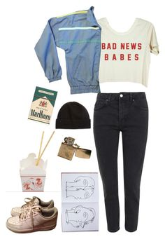 """""""bad news"""" by unpleasantunicorn on Polyvore featuring Topshop, Assouline Publishing, NIKE and Portolano"""