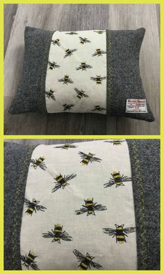 Handmade Harris Tweed cushion, with embroidered bee panel #ad #Etsy #bee #bees #cushion #homedecor