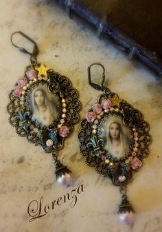 Boucles shabby vieux rose Vierge Marie par lorenza33 sur Etsy, $55.00