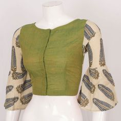 Buy online Hand Crafted Cotton Blouse With Bell Sleeve 10024190 Size - 36