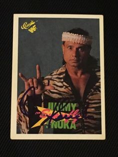 jimmy superfly snuka 1990 classic wwf signed autographed card