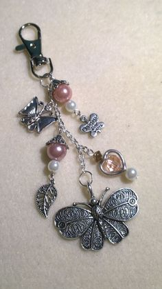 silver butterfly purse charm