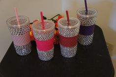 Need this in purple or hot pink! RHINESTONE Tumbler Cup with Straw by SpasoDesigns on Etsy, $19.99