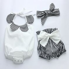 baby rompers 2016 hot sell white and black strip baby romper set newborn baby clothes boutiques baby girls vintage floral romper Fashion Kids, Baby Girl Fashion, Latest Fashion, Baby Girl Boutique, Baby Boutique Clothing, Clothing Sets, Romper Clothing, Girl Clothing, Ebay Clothing