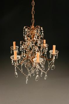 19th Century Italian six arm iron and crystal antique chandelier. #antique #chandelier #iron #crystal