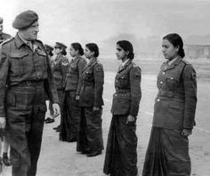 Photo of Sikh women in the RAF in WWII - women built, fixed & flew aircraft. They wear the same skirts like the WRINS, Women's Royal Indian Naval Service ~