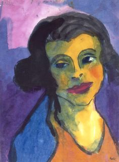 Portrait of a Woman (Pilar Hauptmann) by Emile Nolde (German~Danish 1867~1956) | He was one of the first Expressionists, a member of Die Brücke.