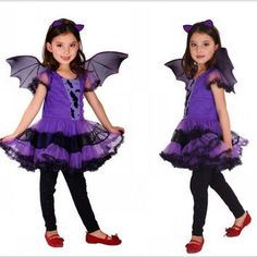 New Girls Children Halloween Costumes for Kids Girls Children Christmas Party Clothing Bat Classic Halloween Costumes with Bat Wings HC07