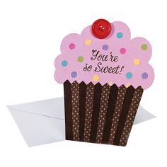 """You're So Sweet"" Cupcake Card Craft Kit - OrientalTrading.com"