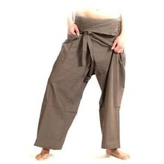 Thai Fisherman Wrap Pants Trousers Yoga Massage Pregnancy Pants 100% Light Cotton Free Size - Light Brown by TYM. $59.60. Thai Fisherman Pants have a very wide waist with a belt that ties from the rear. Simply step into the pants, pull the waist out to one side wrap the extra fabric around to the front and tie the belt. Length can be adjusted by folding over the top of the pants!