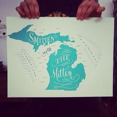 smitten with the mitten | #Michigan #letterpress print
