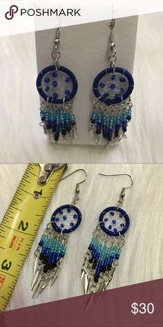 🌜 Dream Catcher Native Tribal Earrings 🌜 Dream Catcher Native Earrings   The hoop is silk thread   Color: Blues and Black  Brand: Pink Wasp  Light weight, hypo allergenic   These have diamond shapes hanging at the bottom. Phive'5 Jewelry Earrings