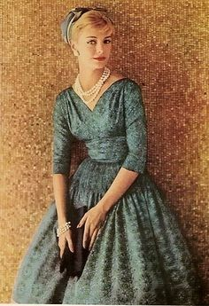 Blue dress & pearls <3 1958