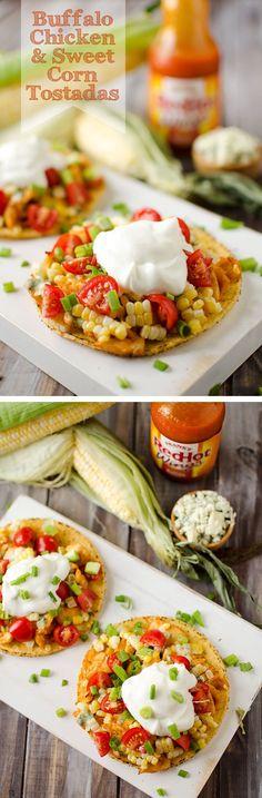 Buffalo Chicken Sweet Corn Tostadas by The Creative Bite
