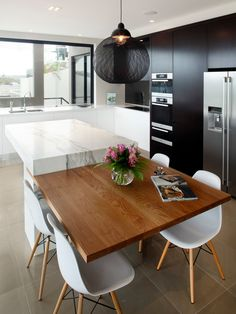 Kitchen Design, Appealing Modern Kitchen Designs With Small White Marble Kitchen Island Also Wooden Square Breakfast Table For 4 Persons And...