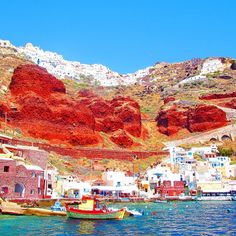 Red cliffs in Oia, Greece.