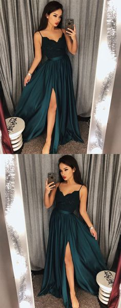 dark green lace long prom dress, evening dress, formal dress