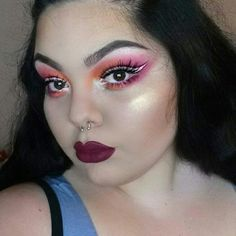 Orange and pink with white graphic eyeliner.  #makeup #eyes #lips #highlight #elf #cosmetics #pink #orange #white #liner #eyeliner #colourpop #bhcosmetics #Brows #whiteliner #mua #colorful #lashes #beauty #maquillaje #sombra