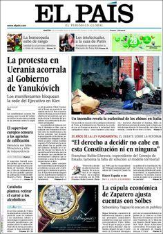 Los Titulares y Portadas de Noticias Destacadas Españolas del 3 de Diciembre de 2013 del Diario El País ¿Que le pareció esta Portada de este Diario Español?