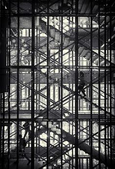 """theblackworkshop:    Stairway to heaven!The effect of the facade of the Institut du Monde Arabe, is like a giant Islamic pierced screen, giving great significance and an audacious brilliance to this remarkable building. From the inside it is like looking into the light and seeing a """"Stairway to heaven"""".(by simonGman)"""