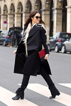 "Paris Fashion Week, March 2013:  Kim Ellery, designer:  ""I'm wearing an Ellery jacket, T-Shirt and trousers with a Marchesa fur gilet.  I'm carrying a Celine bag and wearing Margiela boots."""