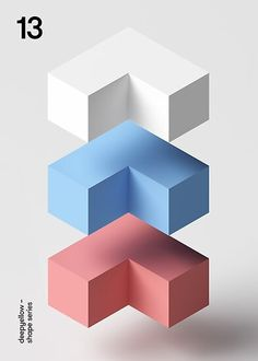Geometric Poster Design : By Deep Yellow corner block poster design Cube Design, Shape Design, Ad Design, Layout Design, Class Design, Design Ideas, Geometric Poster, Geometric Shapes, 3d Shapes