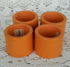 Vintage Set of 4 Vera Neumann Napkin Rings Peach Burnt Orange Melamine Acrylic #VeraNeumann