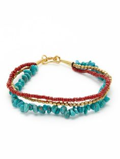 gold, coral and turquoise bead bracelet (tai jewelry)