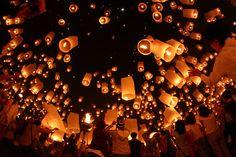 magic. Chumlong Nilkon. Floating lanterns at Chiang Mai, Thailand.
