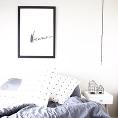 Beautiful interior bedroom styled by @copious.vs.slight featuring Yorkelee Prints popular Dreamer print.