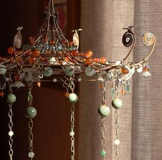 Gardener's Folly A Sunshower Chandelier Wire Chandelier, I Love Lamp, Steel Sculpture, Wire Art, Lamp Shades, Suncatchers, Bead Art, Wind Chimes, Diy And Crafts