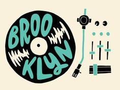 Brooklyn Spin                                                                                                                                                                                 More Types Of Lettering, Hand Lettering, Typography Fonts, Design Art, Logo Design, Type Design, Dj Logo, Record Art, Vinyl Art