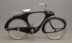 """c1960 bicycle, Bowden Spacelander, Grand Haven, MI, 60-61, produced 544 units, first shown in 1946 exhibition as the """"Classic""""-aluminum, driveshaft w hub dynamo to help uphill, altho finally produced in 1960 as the """"Spacelander"""" in fiberglas and chain drive. Reproduced in 1988."""