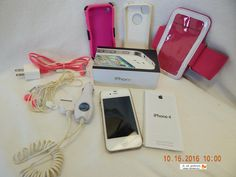 Apple iPhone 4! White! Smartphone! ORIGINAL BOX AND EXTRA ITEMS! USED! AS IS!  #Apple #Bar