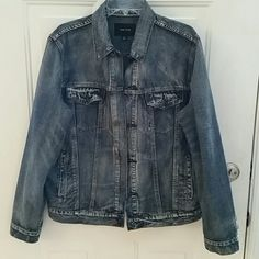 """Adam Levine jean jacket Men's size XL stone washed jean jacket. Button down design. Purchased for a party and never worn. Arm length 20"""" from armpit to wrist, vest 44"""", waist 42"""". NWOT Adam Levine Jackets & Coats Jean Jackets"""