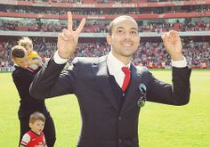 "Last home game of the season: Theo Walcott does his ""2-0"" sign."