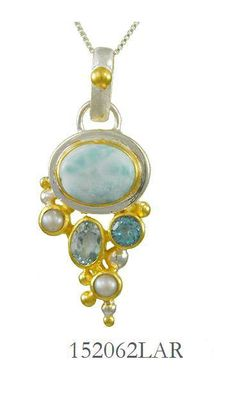 Larimar, Fresh Water Pearl, Swiss Blue Topaz, and Baby Blue Topaz - Cascade Collection Pendant