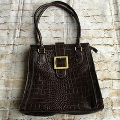 Faux croc purse Faux croc beautiful and classic shoulder bag. 10 inches across / 10 inches from top to bottom/ front buckle detail in bronze, zipper opening on top. Apt. 9 Bags Shoulder Bags