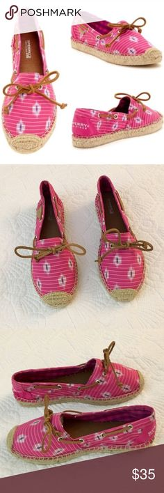 NWOTs Sperry Espadrilles NWOTs Adorable Sperry Espadrilles. Pink & purple design with brown leather laces.  Size 6. Sperry Top-Sider Shoes Flats & Loafers