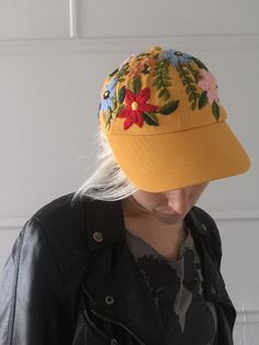 floral embroidered baseball cap by TessaPerlowInc on Etsy