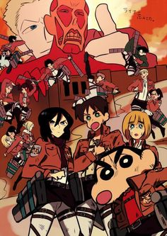 Attack On Titan 進撃の巨人 shingeki no kyojin Crayon Shin Chan, Anime Crossover, Anime Manga, Anime Art, Shin Chan Wallpapers, Sinchan Cartoon, Pokemon, Attack On Titan Anime, Attack On Titan Crossover