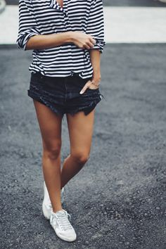 one teaspoon black destroyed denim shorts and striped long sleeve shirt