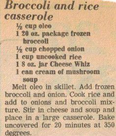 Broccoli & Rice Casserole Recipe Clipping More FULL RECIPE HERE Green Rice Recipe green rice recipe green rice recipe spinach green peas a. Retro Recipes, Old Recipes, Vintage Recipes, Cookbook Recipes, Side Dish Recipes, Cooking Recipes, Family Recipes, Dishes Recipes, Vegetarian