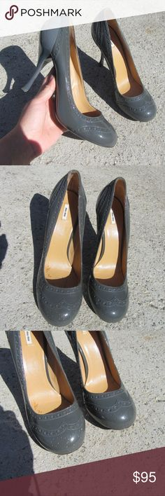 MIU MIU 9 GREY PATENT LEATHER LOLITA HEELS SHOES Marked 39 or SZ 9 , super cute and great condition Miu Miu Shoes