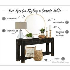 Five Tips for Styling a Console Table Foyer Decor Ideas console Styling Table TI.- Five Tips for Styling a Console Table Foyer Decor Ideas console Styling Table TIPS Decoration Hall, Decoration Entree, Console Table Decor, Entrance Table Decor, Console Table Living Room, Decorate Console Tables, Entryway Tables, Console Table With Mirror, Living Room Nest Of Tables