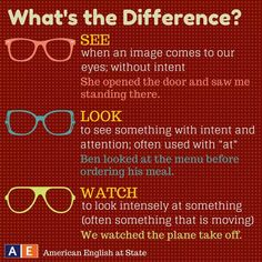 "In English, the words ""see,"" ""look,"" and ""watch"" have similar meanings. Thus, it can be difficult to know which one to use sometimes. Check out this American English at State graphic to help you understand the different meanings of these three words! English Verbs, Learn English Grammar, English Writing Skills, Learn English Words, English Phrases, English Language Learning, Teaching English, German Language, Japanese Language"