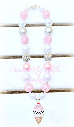 Chunky Bead Necklace/Ice Cream Cone by SewMyStyleBoutique on Etsy