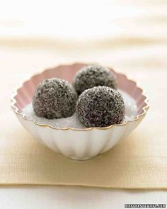 Chocolate-Champagne Truffles in Sparkling Sugar replace cognac with moscato, amaretto, amarula, menthe, anise, or other dessert wine