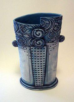 Slab built texture vase.